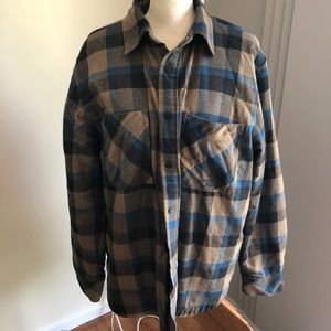 both Face plaid snap quilted shirt for warm men L